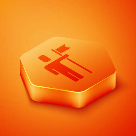 Isometric Leader of a team of executives icon isolated on orange background. Orange hexagon button. Vector