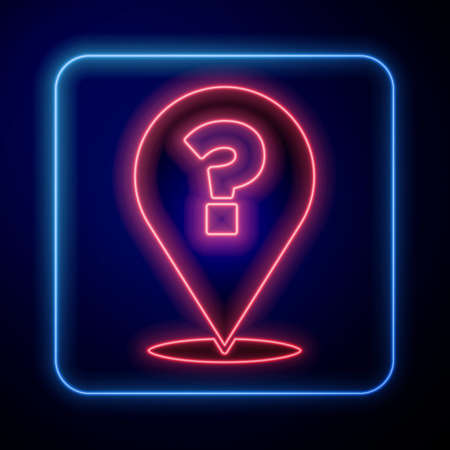 Glowing neon Question mark icon isolated on blue background. FAQ sign. Copy files, chat speech bubble and chart. Vector Ilustração