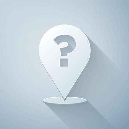 Paper cut Question mark icon isolated on grey background. FAQ sign. Copy files, chat speech bubble and chart. Paper art style. Vector