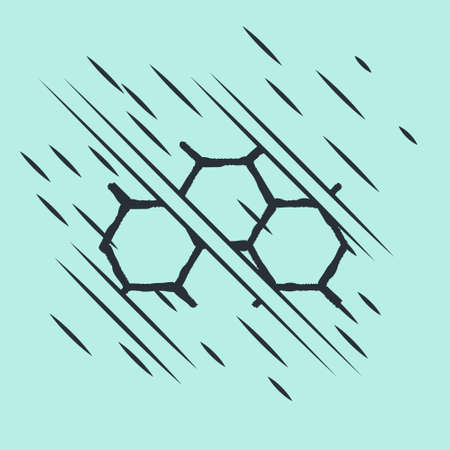 Black Chemical formula icon isolated on green background. Abstract hexagon for innovation medicine, health, research and science. Glitch style. Vector