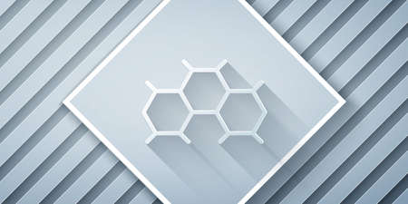 Paper cut Chemical formula icon isolated on grey background. Abstract hexagon for innovation medicine, health, research and science. Paper art style. Vector Иллюстрация