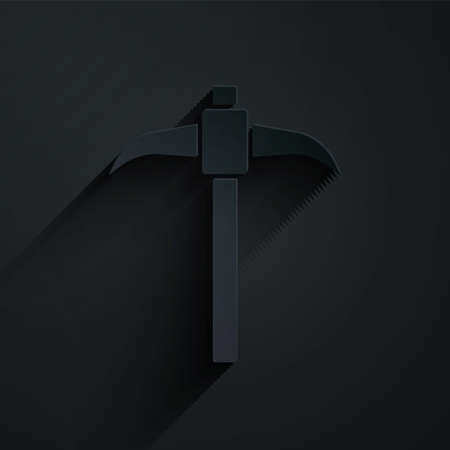 Paper cut Pickaxe icon isolated on black background. Paper art style. Vector Иллюстрация