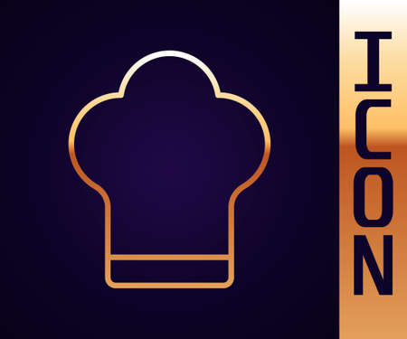 Gold line Chef hat icon isolated on black background. Cooking symbol. Cooks hat. Vector Illustration