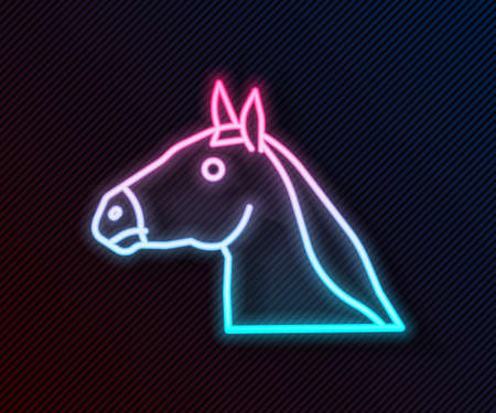 Glowing neon line Horse head icon isolated on black background. Animal symbol. Vector