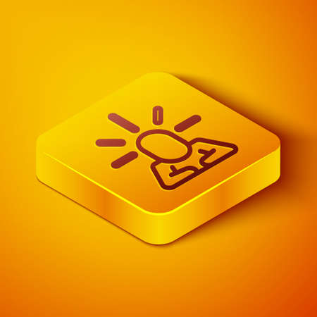 Isometric line Depression and frustration icon isolated on orange background. Man in depressive state of mind. Mental health problems. Yellow square button. Vector
