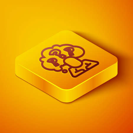 Isometric line Human head with question mark icon isolated on orange background. Yellow square button. Vector Ilustração