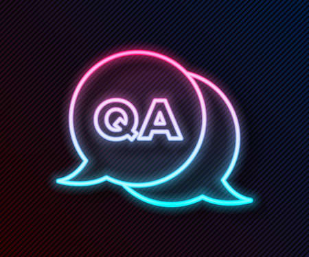 Glowing neon line Speech bubbles with Question and Answer icon isolated on black background. Q and A symbol. FAQ sign. Chat speech bubble and chart. Vector