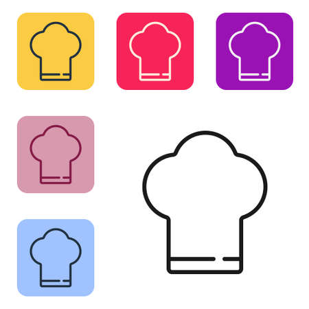 Black line Chef hat icon isolated on white background. Cooking symbol. Cooks hat. Set icons in color square buttons. Vector