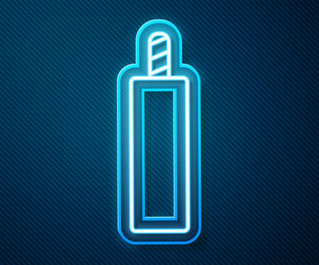 Glowing neon line Detonate dynamite bomb stick icon isolated on blue background. Time bomb - explosion danger concept. Vector