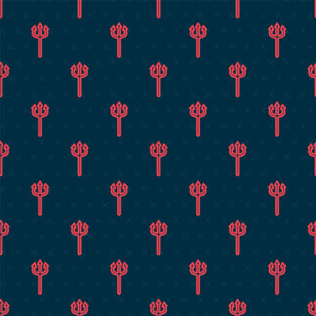 Red line Neptune Trident icon isolated seamless pattern on black background. Happy Halloween party. Vector Stock Illustratie