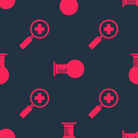 Set Magnifying glass for search medical and Test tube and flask on seamless pattern. Vector