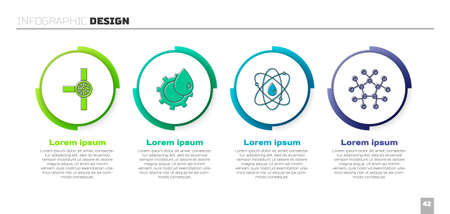 Set Industry pipes and valve, Oil industrial factory building, Atom and Molecule oil. Business infographic template. Vector