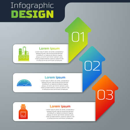 Set Oil industrial factory building, Speedometer and Oil petrol test tube. Business infographic template. Vector