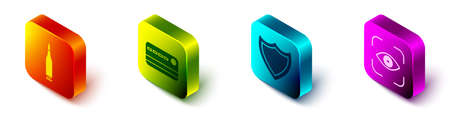 Set Isometric Bullet, Credit card, Shield and Eye scan icon. Vector Illusztráció