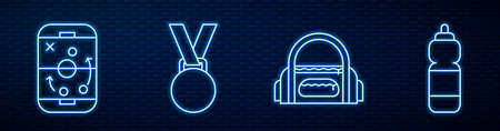 Set line Sport bag, Planning strategy, Medal, Fitness shaker and Hockey judge, referee, arbiter. Glowing neon icon on brick wall. Vector