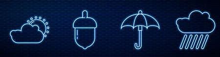Set line Umbrella, Sun and cloud weather, Acorn, Cloud with rain and Carrot. Glowing neon icon on brick wall. Vector
