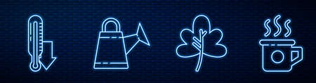 Set line Leaf or leaves, Meteorology thermometer, Watering can, Cup of tea and Leaf or leaves. Glowing neon icon on brick wall. Vector