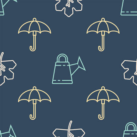 Set line Leaf or leaves, Umbrella and Watering can on seamless pattern. Vector