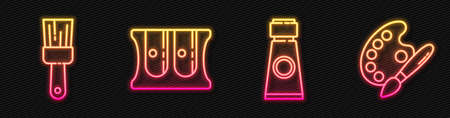 Set line Tube with paint palette, Paint brush, Pencil sharpener and Paint brush with palette. Glowing neon icon. Vector