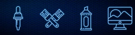 Set line Marker pen, Pipette, Crossed paint brush, Computer monitor screen and Palette knife. Glowing neon icon on brick wall. Vector