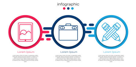 Set line Graphic tablet, Graphic tablet and Crossed pencil with eraser. Business infographic template. Vector