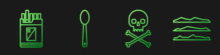 Set line Skull on crossbones, Open cigarettes pack box, Heroin in a spoon and Cocaine or heroin drug. Gradient color icons. Vector