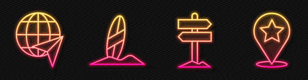 Set line Road traffic signpost, Globe with flying plane, Surfboard and Map pointer with star. Glowing neon icon. Vector