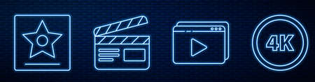 Set line Online play video,  star, Movie clapper and 4k Ultra HD. Glowing neon icon on brick wall. Vector