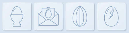 Set line Easter egg on a stand, Easter egg, Greeting card with Happy Easter and Broken egg. White square button. Vector Vectores