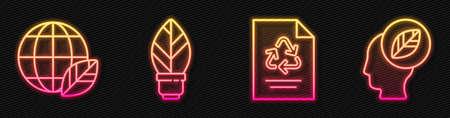 Set line Paper with recycle, Earth globe and leaf, Light bulb with leaf and Human head with leaf inside. Glowing neon icon. Vector Vectores