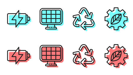 Set line Recycle symbol, Battery, Solar energy panel and Leaf plant in gear machine icon. Vector Vectores