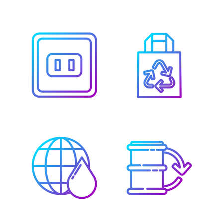 Set line Eco fuel barrel, Earth planet in water drop, Electrical outlet and Paper bag with recycle. Gradient color icons. Vector