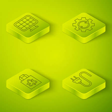 Set Isometric Gear and arrows as workflow, Paper bag with recycle, Electric plug and Solar energy panel icon. Vector Illustration