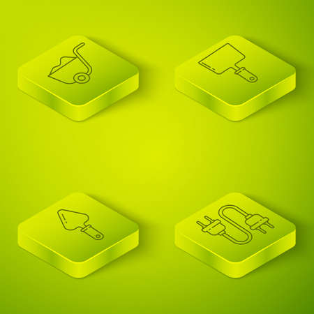 Set Isometric Putty knife, Trowel, Electric plug and Shovel icon. Vector
