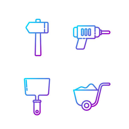 Set line Shovel, Putty knife, Hammer and Electric drill machine. Gradient color icons. Vector Vettoriali