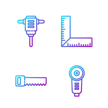 Set line Angle grinder, Hand saw, Electric rotary hammer drill and Corner ruler. Gradient color icons. Vector