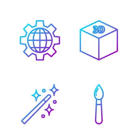Set line Paint brush, Magic wand, Globe of the Earth and gear and Isometric cube. Gradient color icons. Vector