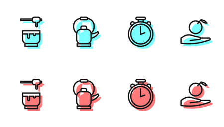 Set line Stopwatch, Honey dipper stick and bowl, Kettle with handle and Apple in icon. Vector