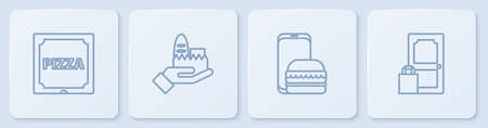 Set line Pizza in cardboard box, Online ordering and delivery, and . White square button. Vector