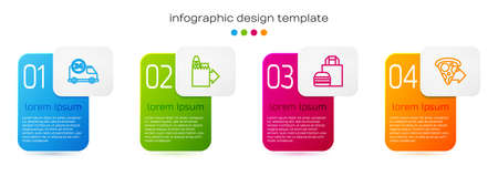 Set line Fast delivery by car, Online ordering and, burger and pizza. Business infographic template. Vector