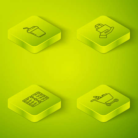 Set Isometric Online ordering and delivery, Restaurant cafe menu, Shopping cart food and Coffee cup to go icon. Vector