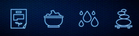 Set line Water drop, Leaf document, Sea salt in bowl and Stack hot stones. Glowing neon icon on brick wall. Vector