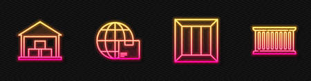 Set line Wooden box, Warehouse, Worldwide shipping and and Container. Glowing neon icon. Vector Vectores