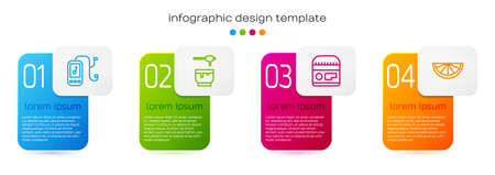 Set line Music player, Honey dipper stick and bowl, Cream or lotion cosmetic tube and Citrus fruit. Business infographic template. Vector