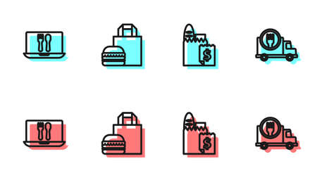 Set line Online ordering and delivery, , burger and Fast by car icon. Vector
