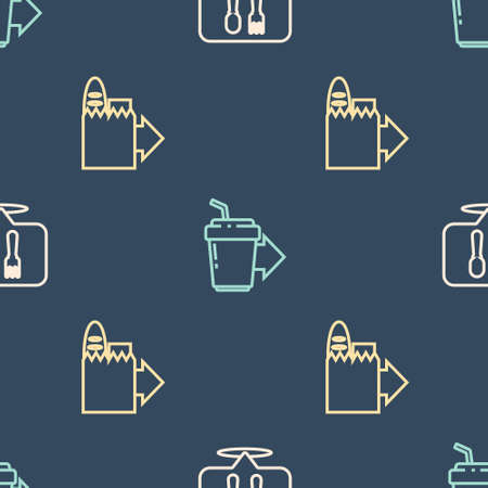 Set line Cafe and restaurant location, Online ordering delivery and Coffee cup to go on seamless pattern. Vector Vectores