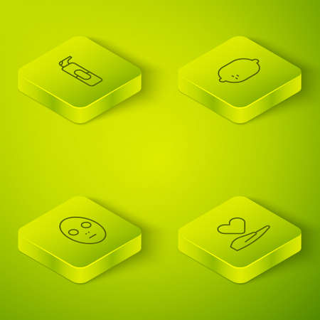 Set Isometric Lemon, Facial cosmetic mask, Heart hand and Spray can for hairspray icon. Vector
