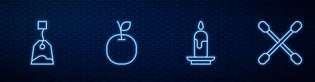 Set line Burning candle, Tea bag, Apple and Cotton swab for ears. Glowing neon icon on brick wall. Vector