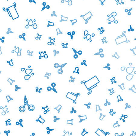 Set line Scissors, Towel on a hanger and Water drop on seamless pattern. Vector Vectores
