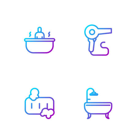 Set line Bathtub, Bar of soap with foam, and Hair dryer. Gradient color icons. Vector